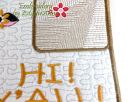 COW GREETING HI Y'ALL!  In The Hoop Whimsical Embroidered Mug Mats/Mug Rugs-Digital Download