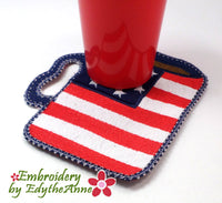 PATRIOTIC STARS & STRIPES MUG SHAPED In The Hoop Embroidered Mug Mat/Mug Rug  - Digital Download