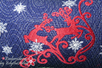 DANCING REINDEER CHRISTMAS ACCENT PILLOW-In The Hoop Machine Embroidery