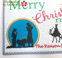 MERRY CHRISTmas  In The Hoop Machine Embroidered Mug Mat/Mug Rug