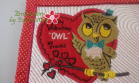 OWL BE YOURS VINTAGE VALENTINE MUG MAT/MUG RUG In The Hoop Embroidery Design - Embroidery by EdytheAnne - 2