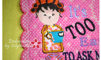 IT'S TOO EARLY WHIMSICAL MUG MAT Available in two sizes. INSTANT DOWNLOAD - Embroidery by EdytheAnne - 3
