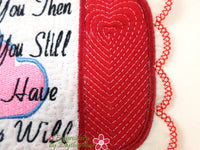 LOVE YOU STILL... In The Hoop Embroidered Mug Mats/Mug Rugs.  Digital Dowload