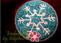 Winter Coaster - Snowflake- INSTANT DOWNLOAD - Embroidery by EdytheAnne - 1
