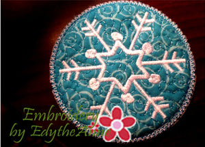 Snowflake Winter Coaster - 1/2 off with Placemat Purchase - Embroidery by EdytheAnne - 1