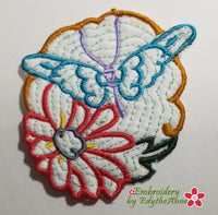 BUTTERFLY & FLOWERS COASTER - - IN THE HOOP MACHINE EMBROIDERY-DIGITAL DOWNLOAD