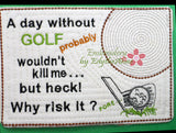 GOLFERS  In The Hoop Embroidered Mug Mat/Mug Rug.  3 Piece Set.  - Digital File - Instant Download - Embroidery by EdytheAnne - 4