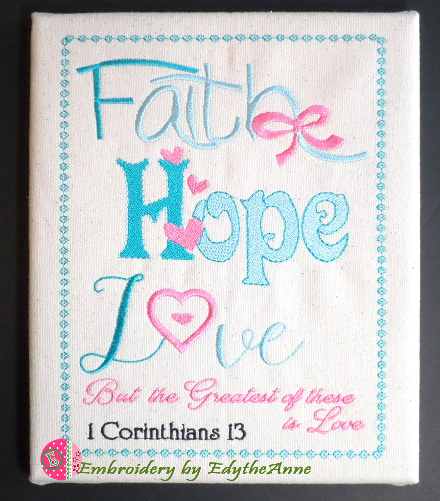 FAITH, HOPE, LOVE Word Art Frameable Canvas -  Digital Download