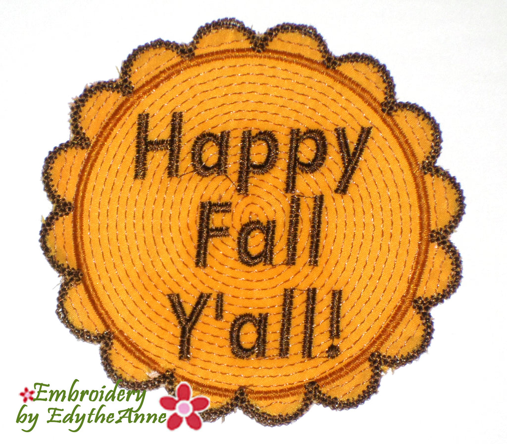 HAPPY FALL COASTER IN THE HOOP MACHINE EMBROIDERY