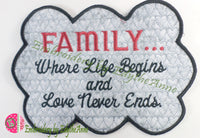 Where Life Begins... In The Hoop Embroidered Mug Mats/Mug Rugs. Two piece set. Digital File.Available immediately.