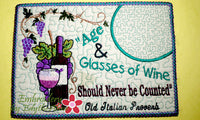 AGE & GLASSES OF WINE In The Hoop Whimsical Embroidered Mug Mats/Mug Rugs.   - Digital File - Instant Download - Embroidery by EdytheAnne - 3