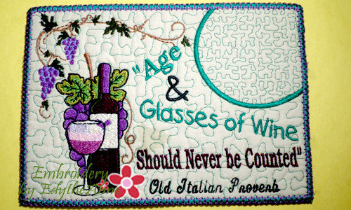 Age Amp Glasses Of Wine In The Hoop Whimsical Embroidered