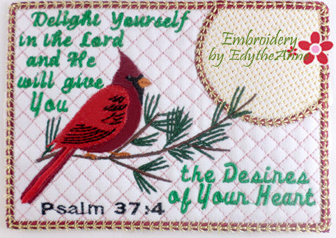 DELIGHT YOURSELF IN THE LORD In The Hoop Faith Based Embroidered Mug Mats/Mug Rugs-Digital Download