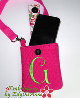 CELL PHONE CARRIER w/ Monograms - IN THE HOOP - Digital Download