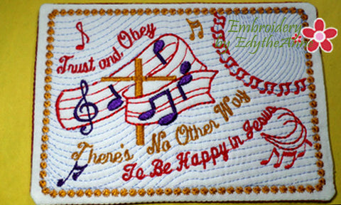 TRUST AND OBEY FAITH BASED Mug Mat/Mug Rug - 2 Sizes Included - INSTANT DOWNLOAD - Embroidery by EdytheAnne - 1