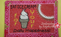 EAT ICE CREAM Mug Mat/Mug Rug In The Hoop design.  Instant Download - Embroidery by EdytheAnne - 5