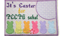 IT'S EASTER FOR PEEPS SAKE Mug Mats/Mug Rugs/Drink Mats In The Hoop Whimsical Styled Machine Embroidery-DIGITAL DOWNLOAD
