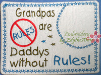 GRANDMA & GRANDPA SET SAVE 20% WITH SET PURCHASE - 2 Sizes  Embroidered Mug Mat/Mug Rug In The Hoop