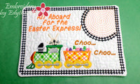 EASTER EXPRESS In The Hoop Embroidered Mug Mat Designs.   - Digital File - Instant Download