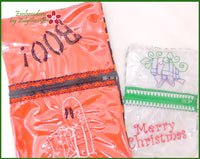 HOLIDAY ZIPPERED SEE THROUGH BAGS In The Hoop Machine Embroidery