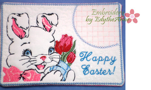 HAPPY EASTER BUNNY In The Hoop Vintage Style Embroidered Mug Mat/ Mug Rug/Drink Mat - INSTAND DOWNLOAD - Embroidery by EdytheAnne - 1