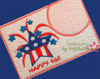 HAPPY 4TH! Mug Mat/Mug Rug In The Hoop - DIGITAL DOWNLOAD