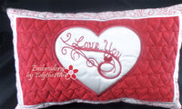 I LOVE YOU VALENTINE HEART PILLOW In The Hoop Pillow.  Instant Download - Embroidery by EdytheAnne - 2
