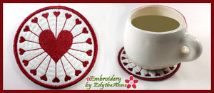 HEART TO HEART COASTER  Machine Embroidery Design - Digital Download