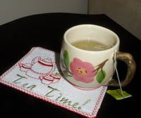 TEA TIME In The HoopMachine Embroidery Mug Mat/Mug Rug. Easy and quick.  - Digital File - Instant Download - Embroidery by EdytheAnne - 2