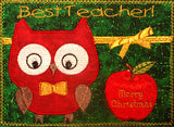 TEACHER Both Male and Female Christmas Gift Mug Mat/Mug Rug In The Hoop Appliqued owls.  - INSTANT DOWNLOAD - Embroidery by EdytheAnne - 3