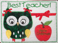 TEACHER Both Male and Female Christmas Gift Mug Mat/Mug Rug In The Hoop Appliqued owls.  - INSTANT DOWNLOAD - Embroidery by EdytheAnne - 2