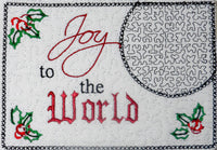 Joy to the World Christmas Mug Mat/Mug Rug - In the Hoop - INSTANT DOWNLOAD