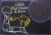 "Christmas Mug Mat ""Christ our Savior is Born"".   - Digital File - Instant Download - Embroidery by EdytheAnne - 2"