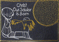 CHRIST OUR SAVIOR IS BORN Christmas Mug Mat/Mug Rug  - DIGITAL DOWNLOAD