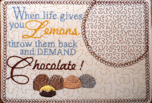DEMAND CHOCOLATE In The Hoop Embroidered Mug Mat/Mug Rug done In The Hoop.   - Digital File - Instant Download - Embroidery by EdytheAnne