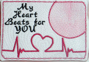 VALENTINE In The Hoop Embroidered Mug Mat/Mug Rug. My Heart Beats for You. Wedding or Anniversary Gift.  - Digital File - Instant Download - Embroidery by EdytheAnne