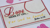 John 3 16 - LOVE Pass It On. In The Hoop Embroidered Mug Mat/Mug Rug done In The Hoop.   - Digital File - Instant Download