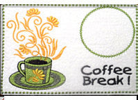 COFFEE BREAK Machine Embroidered Mug Mat/Mug Rug - 2  Sizes included- INSTANT DOWNLOAD - Embroidery by EdytheAnne - 3