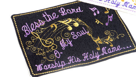 BLESS THE LORD Faith Based  Musical Embroidery Mug Mat  In The Hoop.   - Digital File - Instant Download - Embroidery by EdytheAnne - 1