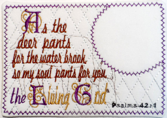 As the Deer Pants  Psalm 42  In The Hoop Embroidered Mug Mat/Mug Rug done In The Hoop.  - Digital File - Instant Download - Embroidery by EdytheAnne - 1
