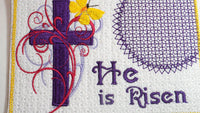 HE IS RISEN In The Hoop Embroidered Mug Mat & Matching Napkin Ring..   - Digital File - Instant Download - Embroidery by EdytheAnne - 4
