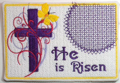 HE IS RISEN In The Hoop Embroidered Mug Mat & Matching Napkin Ring..   - Digital File - Instant Download - Embroidery by EdytheAnne - 2