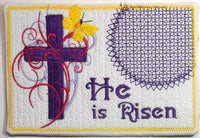 HE IS RISEN In The Hoop Embroidered Mug Mat/Mug Rug  - Digital Download