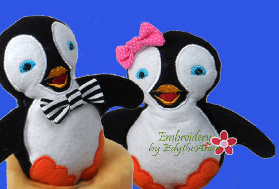 PENGUIN STUFFIE He and She in 3 Sizes In The Hoop Machine Embroidery Design...No Manual Sewing!  - Digital File - Instant Download - Embroidery by EdytheAnne - 1