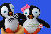 PENGUIN STUFFIE He and She in 3 Sizes In The Hoop Machine Embroidery Design...No Manual Sewing!  - Digital File - Instant Download