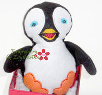PENGUIN STUFFIE He and She in 3 Sizes In The Hoop Machine Embroidery Design...No Manual Sewing!  - Digital File - Instant Download - Embroidery by EdytheAnne - 3
