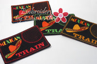 MEXICAN TRAIN GAME In The Hoop Embroidered Mug Mat.   - Digital File - Instant Download