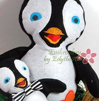 PENGUIN STUFFIE He and She in 3 Sizes In The Hoop Machine Embroidery Design...No Manual Sewing!  - Digital File - Instant Download - Embroidery by EdytheAnne - 2