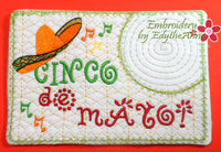 CINCO DE MAYO In The Hoop Embroidered Mug Mat.  - Digital File