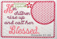 The  PROVERBS 31 WOMAN Mug Mats  In The Hoop Embroidered Mug Mat Set of Two designs.  - Digital File - Embroidery by EdytheAnne - 1